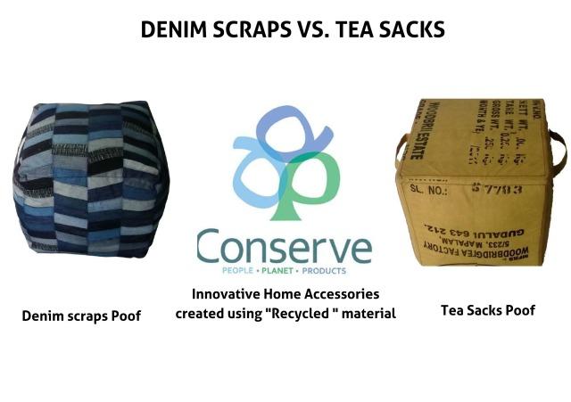 Denim scraps tea sacks